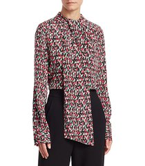 speckled stretch-silk tieneck blouse