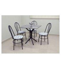 conjunto cozinha sevilha 0,75 com granito c/4 cadeiras milla açomix cinza