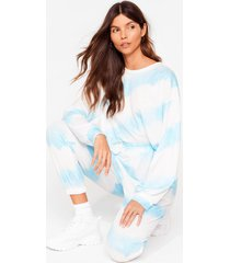 womens time to relax tie dye joggers lounge set - blue