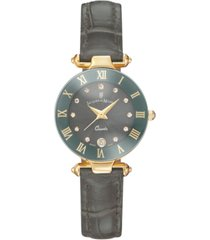 jacques du manoir ladies' grey genuine leather strap with goldtone case and grey dial with diamond markers, 26mm