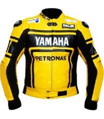 new handmade yamaha petronas yellow black motorbike leather jacket
