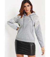 jersey liso con encaje gris mangas largas con capucha diseño capucha