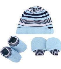 kit bebê pimpolho gorro, luva & sapato listrado masculino