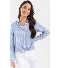 angelina striped button down top - light blue