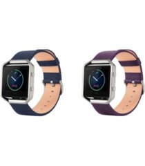 posh tech unisex fitbit blaze assorted genuine leather watch replacement bands - pack of 2