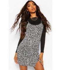 tall luipaardprint 2-in-1 onderjurk met lange mouwen, black