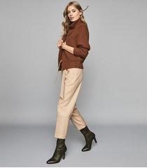 reiss peyton - chunky zip through cardigan in brown, womens, size xxl
