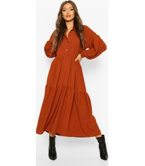 oversized maxi blouse jurk met laagjes, roest