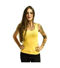 regata nakia básica feminina lisa ribana amarela