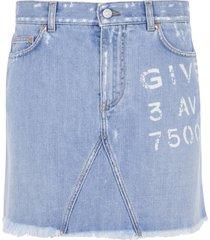 givenchy logo print denim skirt