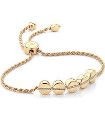gold linear bead diamond row friendship chain bracelet diamond