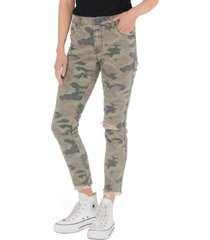 women's kut from the kloth reese fab ab ripped camo print high waist jeans, size 00 - green