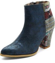botin azul por textil heels.d
