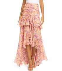 women's amur fie floral silk high/low skirt