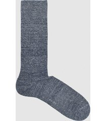 reiss davis - linen cotton blend socks in indigo, mens