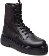 tommy jeans flatform boot shoes boots ankle boots ankle boot - flat svart tommy hilfiger