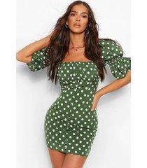 gestipte mini jurk met pofmouwen en knoop, groen