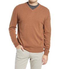 men's nordstrom cashmere v-neck sweater, size 4x-large - brown