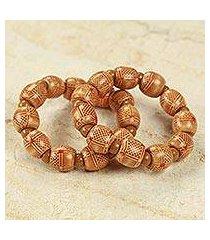 wood stretch bracelets, 'twice happy' (pair) (ghana)
