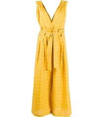 mes demoiselles v-neck wide-leg check jumpsuit - yellow