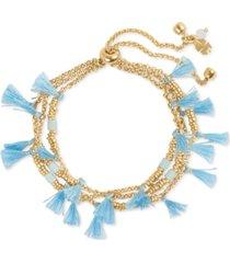 lucky brand gold-tone stone & tassel beaded slider bracelet