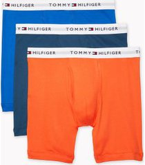 tommy hilfiger men's cotton classics boxer brief 3pk orange/blues - xl