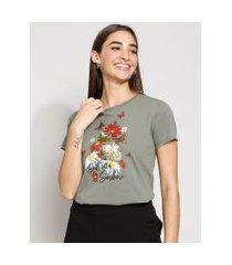 "camiseta feminina manga curta soul full of sunshine"" decote redondo verde militar"""