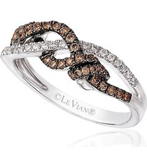 le vian women's 14k vanilla gold vanilla diamonds & chocolate diamonds chocolatier gladiator weave ring/size 7 - size 7