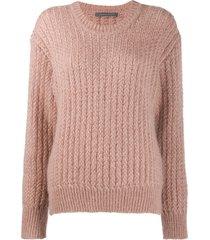 alberta ferretti ribbed knit sweater - pink