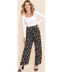 women's danese floral wide leg pants in black by francesca's - size: l