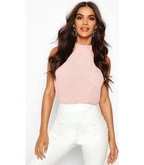 high neck sleeveless blouse, blush
