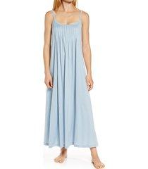 women's hanro juliet pleat neck cotton nightgown, size small - blue/green
