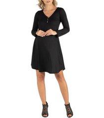 24seven comfort apparel henley style long sleeve maternity dress