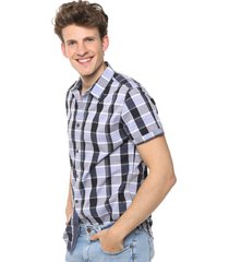 camisa azul calvin klein open space check