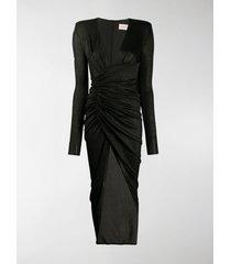 alexandre vauthier glittered ribbed wrap-effect dress
