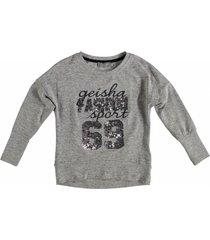 geisha zachte grijze sweater met pailletten