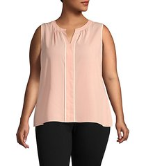 plus contrast-trimmed sleeveless top