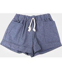 shorts jeans infantil costão bolso feminino