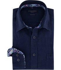 donkerblauw overhemd casa moda linnen