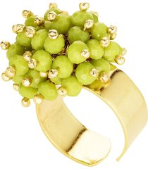 anel kumbayá microesferas móveis semijoia banho de ouro 18k pedra natural quartzo verde
