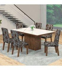 mesa de jantar 6 lugares manu venus dover/cobre/branco - viero móveis