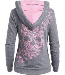 butterflies skull print kangaroo pocket hoodie
