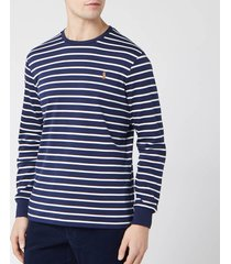polo ralph lauren men's long sleeve stripe t-shirt - french navy/white - xxl