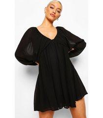 gesmokte jurk met laag decolleté en ballonmouwen, black