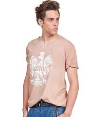 t-shirt męski z orłem beżowy