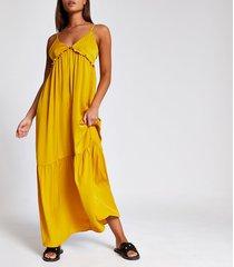 river island womens yellow frill v neck cami maxi dress
