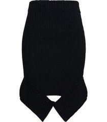 andrea adamo black high waist skirt with cut out detail