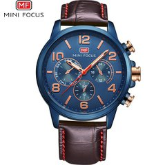reloj para hombre/correa de piel/ mini focus / 0001g /-azul