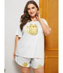 camiseta blanca con estampado de tirantes elásticos de talla grande cuello ropa de dormir de manga corta