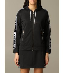 armani exchange sweater armani exchange sweatshirt with hood and logoed bands